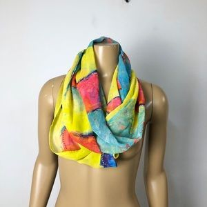 Leoma Lovegrove colorful infinity wrap scarf